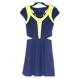 City Triangles navy and yellow dress